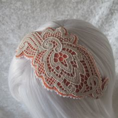 IN STOCK - Wool felt 1920s style hairband fascinator with floral organic cotton lace and contrast felt trim in salmon with creamy ivory trim by eternalmagpie on Etsy https://www.etsy.com/uk/listing/219950904/in-stock-wool-felt-1920s-style-hairband