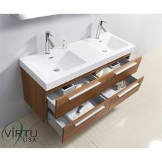 """Love. Virtu USA 54"""" Finley Double Sink Bathroom Vanity with Polymarble Countertop - Plum 