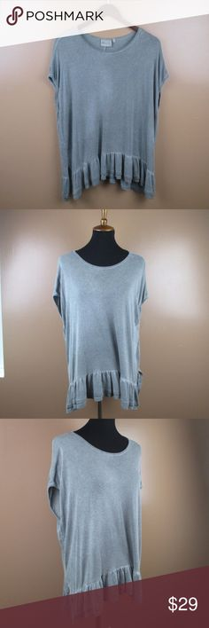 Oversized Ruffled Top Medium by Dantelle Gray Great condition. Size Medium Oversized, can fit up to a large Pre worn with minor signs of wear, overall in great condition.  ***Offers Accepted***  Add to a bundle for an automatic discount!!!  #B016 Dantelle Tops Blouses