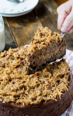 German Chocolate Cheesecake with a gooey coconut-pecan frosting(Baking Cheesecake Chocolate) The Cheesecake Factory, Chocolate Cheesecake Brownies, Cheesecake Cake, German Cheesecake, Coconut Cheesecake, Chocolate Treats, Chocolate Recipes, Chocolate Chocolate, Coconut Chocolate