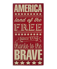 Take a look at this Red & Cream Land of the Free Wall Art by Vinyl Crafts on #zulily today!