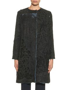 By Walid Vintage A-line embroidered silk coat