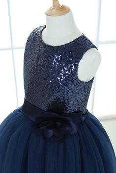 Navy Blue tulle flower girl dress tutu princess kids children junior bridesmaid dress with sash/flower for wedding