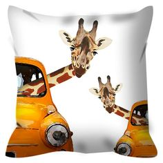 2 Giraffe in a car, decorative pillow, throw cushion home decor animal painting pillow sofa pillow holiday gift