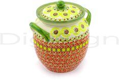 Polish Pottery 7-inch Jar with Lid and Handles | Boleslawiec Stoneware | Polmedia H9296E