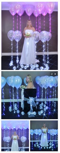 "Sparkle Ribbon for our Sparkle Bride. Sparkle Ribbon used as floor walkers on helium filled 11""  Sparkle Ribbon used as Ceiling Floaters on helium filled 16""  Sparkle Ribbon in our lovely brides bouquet.  Sparkle Ribbon added to the chair back bow.  AND  Party Dots used inside of small 5"" air filled latex on the floor."