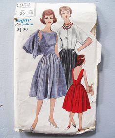 Vintage 1960s Vogue Sewing Pattern 9954 Full Skirted by secretlake, $16.99