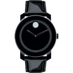 This Movado black patent bold watch will compliment any outfit with its sleek, chic design and simple black color.
