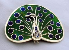 Tini Muller Enamel and Silver Peacock Brooch