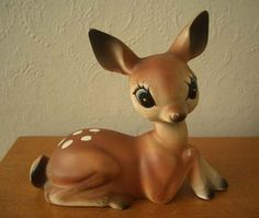 Vintage Ceramic Bambi Deer Ornament - 1950s/1960s~~I have a vintage Bambi deer like this, sitting on my bookcase with other vintage ceramics; too cute!~~