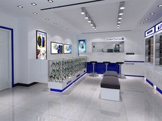 New fashion design for mall eyebrow threading kiosk - mobile shop display – ksl shop fittings Design Display, Design Café, Kiosk Design, Design Ideas, Mobile Phone Shops, Mobile Shop, Mobile Phones, Shop House Plans, Shop Plans