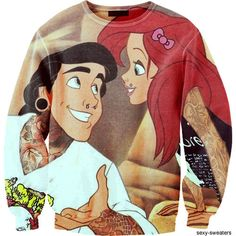 A sweatshirt with hipster ariel and prince eric on it.
