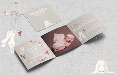 Thank you cards Thanksgiving birth, with photo, birth card Leporello Baptism Invitations, Invitation Cards, Birthday Invitations, Wedding Invitations, Birth Pictures, Baby Announcement Cards, Baby Zimmer, Baby Shower, Baby Party