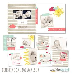 Sunshine Gal 10x10 Photo Albumwith 11 Files for Any Occasion- Newborn, Senior, Everyday, Etc. | Photoshop Templates for Photographers-AS0002
