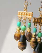 Golden browns annd glowing greens. Tiger Eye and Turquoise Magnesite Chandelier Earrings