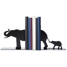Eric Gross Elephant Family Bookends ($65) ❤ liked on Polyvore featuring home, home decor, small item storage, elephant book ends, book ends, book bookends, book shelves and elephant home decor