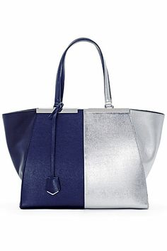 107f070d8c0b Trois-Jour Grande Leather Tote Bag, Dark Blue/Silver by Fendi at Bergdorf  Goodman.