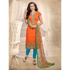 Orange Chanderi Party Wear #Churidar Kameez With Dupatta- $24.02