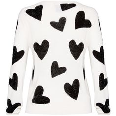 Alice + Olivia Carey All Over Hearts Crewneck Sweater (2.977.485 IDR) ❤ liked on Polyvore featuring tops, sweaters, alice + olivia, crew neck sweaters, rhinestone tops, heart tops and heart sweater