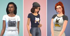 Sim'Pop Culture tucked-in T-shirts   Hi ! ♥︎ I've been quite absent lately, but I'm back with this simple new mesh ! I love giving a backstory and meaning to every details in my game, so I had a lot of fun imagining for my sims their own memes, pop culture icons, and hipster aesthetic. All the graphic tees are sims related, meaning I've only used samples of EA pre-existing artworks (from painting, clothes..), in-game screenshots, and even some personal illustrations inspired by the game…