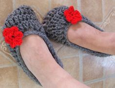 Hand Crocheted Slippers Comfy Cozy Flower Ballet House Shoes $12.75