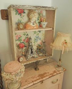 Fab Large Old Wall Shelf with Vintage Roses Wallpaper Chippy White Pink Paint | eBay