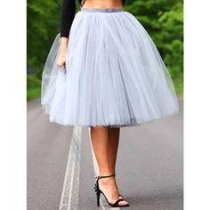 Very Full Fluffy Pale Gray Tulle Skirt (215 BRL) ❤ liked on Polyvore featuring skirts, black, women's clothing, party skirts, long skirts, tie-dye skirt, light grey skirt and elastic skirt