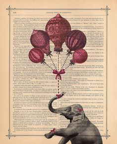 Sweetie Elephant with pink balloons art print Hot Air Balloons and Elephant Nursery Print antique book page dictionary print. $10.00, via Etsy.