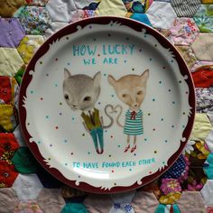 How Lucky We are To Have Found Each Other Love Cats Vintage Illustrated Large Feature Plate