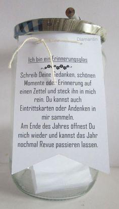 Diamantin´s Hobbywelt: Erinnerungsglas: