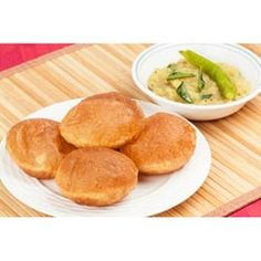 Photo about Delicious deep fried poori (puri) served with spicy potato onion curry (saagu). Image of breakfast, bread, gourmet - 38099869 Indian Bread Recipes, Potato Onion, Recipe Images, Spring Rolls, Cornbread, Fries, Spicy, Curry, Tasty