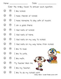 This is a student survey to assess student feelings toward school. ...