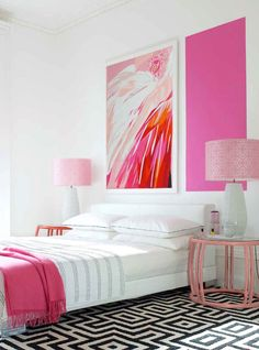 #Pink bedroom ideas with #wall decor and matching #bedside table #decor