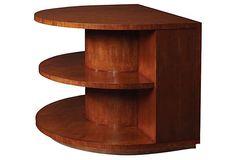 Ralph Lauren - Modern equestrian sofa end table  Philippine mahogany solids/quartered cherry veneers