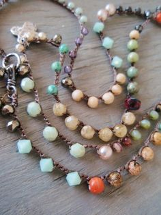 Colorful long crochet wrap necklace 'Bohemian Voyager - Negril' artisan sterling silver multi colored pearl cross Mother's Day gift, OOAK