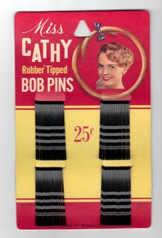 1940s Unused Vintage Bobby Pins Miss Cathy by oldriverantiques