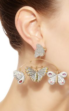 One Of A Kind Sapphire And Garnet Butterfly Mobile Earrings by Sylvie Corbelin for Preorder on Moda Operandi