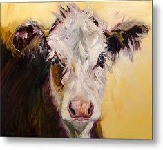 40 X Bed Head Cow Metal Print By Diane Whitehead