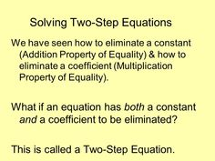 Found on Google from slideplayer.com Properties Of Addition, Properties Of Multiplication, Two Step Equations, Solving Linear Equations, Equality, Student, Feelings, Learning, Google
