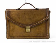 VINTAGE BROWN LEATHER LAWYER ATTORNEY SLIM BRIEFCASE ATTACHE AMAZING PATINA  #Unknown #BriefcaseAttache