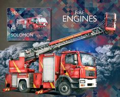 Post stamp Solomon Islands SLM 14510 b	Fire engines (Airport fire truck MAN 29)