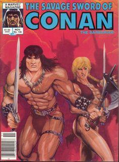 Savage Sword Of Conan Magazine Michael Golden Cvr (Marvel, VF- Vintage Comic Books, Vintage Comics, Comic Books Art, Comic Book Characters, Comic Character, Character Design, Marvel Vs, Marvel Comics, Caricature