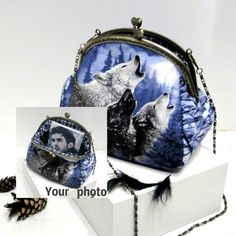 Photo Clutch handbag purse Wolf Christmas от LeatherBagsBackpacks