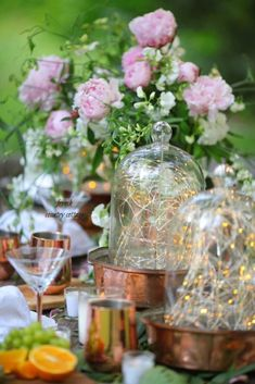A few favorite tips for adding ambiance to summer parties - French Country Cottage Outdoor Table Settings, Outdoor Dining, Home Deco, Flickering Lights, Small Candles, French Country Cottage, Happy Summer, Twinkle Lights, Summer Parties