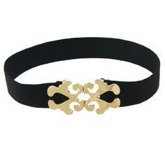 Allegra K Interlocking Hollowed Floral Buckle Black Elastic Cinch Belt for Women Allegra K. $6.32