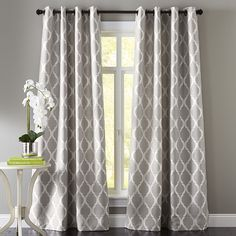 Woven jacquard construction highlights the soft geometric pattern of this classic design. Fully lined and a breeze to hang with a grommet top, our curtain gives your room an instant and stylish update. Curtains For Grey Walls, Living Room Decor Curtains, Grey Walls Living Room, Silver Curtains, Curtains For Home, White And Gray Curtains, Burgundy Curtains, Bedroom Curtains, Gray Walls