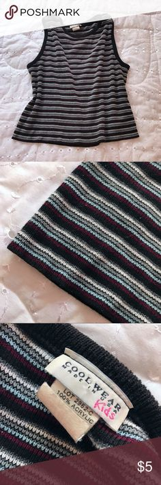 "Striped Knit Top ⭐️black base with gray, white, baby blue, and burgundy stripes. says kids xl 16 but I'm sure it fits a women's medium (see measurements)  ⭐️pre-loved; some pilling  ⭐️approx: length 18"", bust 34""  ⭐️very stretchy Tops"