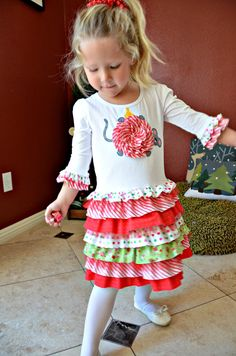 Christmas ruffles toddler girls t-shirt dress pdf pattern mouse applique RUFFLE RUMBA