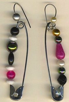 beaded safety pin earrings | donnasuedesigns - Jewelry on ArtFire  free shipping $15