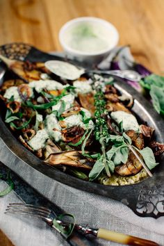 Miso Grilled Eggplant with Thai Basil Garlic Sauce + Freekeh